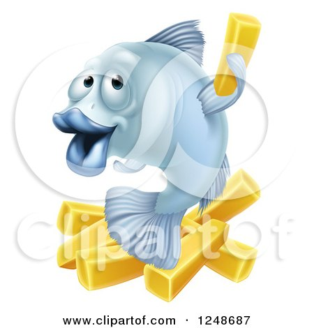Clipart of a Happy Blue Cod Fish and Chips Fries - Royalty Free Vector Illustration by AtStockIllustration