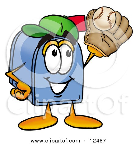 Clipart Picture of a Blue Postal Mailbox Cartoon Character Catching a Baseball With a Glove by Toons4Biz