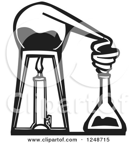 Clipart of a Black and White Woodcut Chemistry Lab Alembic - Royalty Free Vector Illustration by xunantunich