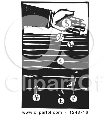 Clipart of a Black and White Woodcut Hand Dropping Currency Coins into a Field to Grow Money - Royalty Free Vector Illustration by xunantunich