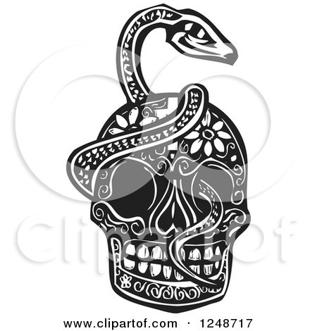 Clipart Of A Black And White Woodcut Serpent Coiled Around A Skull Royalty Free Vector Illustration