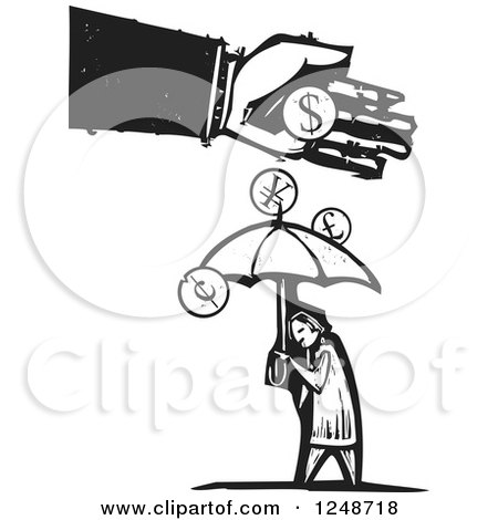 Clipart of a Black and White Woodcut Hand Dropping Currency Coins over a Person with an Umbrella - Royalty Free Vector Illustration by xunantunich