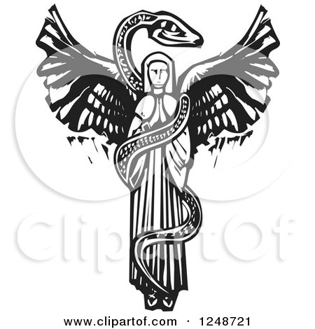Clipart of a Black and White Woodcut Snake Coiled Around a Female Angel - Royalty Free Vector Illustration by xunantunich