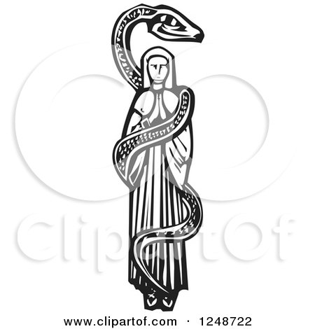 Clipart of a Black and White Woodcut Snake Coiled Around Mary - Royalty Free Vector Illustration by xunantunich