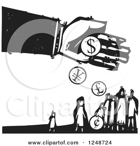 Clipart of a Black and White Woodcut Hand Dropping Currency Coins over Poor People - Royalty Free Vector Illustration by xunantunich