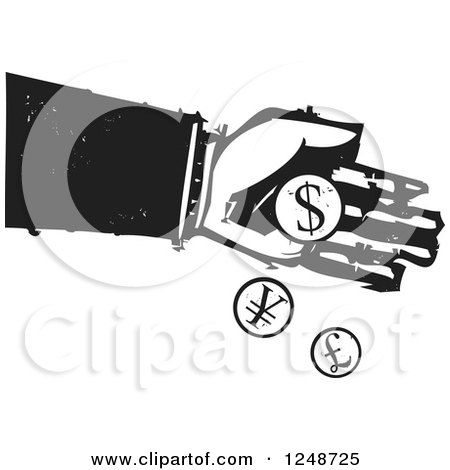Clipart of a Black and White Woodcut Hand Dropping Currency Coins - Royalty Free Vector Illustration by xunantunich