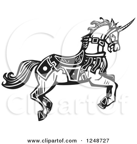 Clipart of a Black and White Woodcut Running Unicorn in Livery - Royalty Free Vector Illustration by xunantunich
