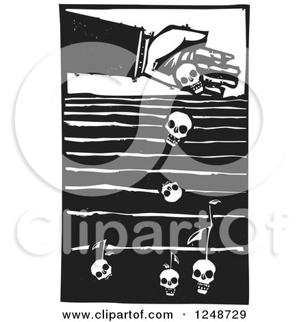 Clipart of a Black and White Woodcut Hand Dropping Seeds of Death into a Field - Royalty Free Vector Illustration by xunantunich