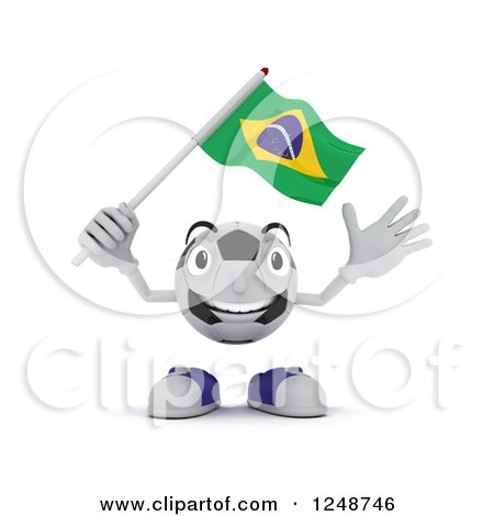 Clipart of a 3d Soccer Ball Character Waving a Brazilian Flag - Royalty Free Illustration by KJ Pargeter