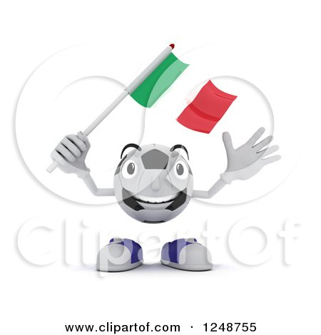 Clipart of a 3d Soccer Ball Character Waving an Italian Flag - Royalty Free Illustration by KJ Pargeter