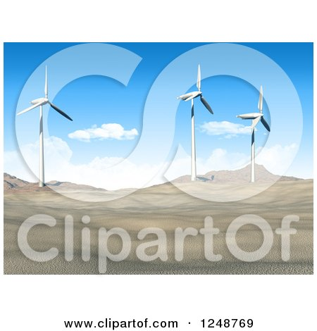 Clipart of a 3d Desert Landscape with Wind Turbines - Royalty Free Illustration by KJ Pargeter