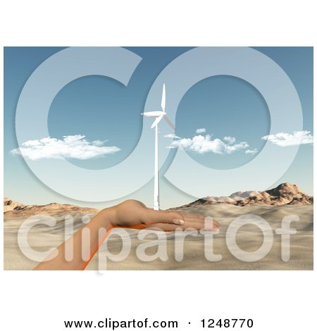 Clipart of a 3d Female Hand Holding a Wind Turbine over a Desert Landscape - Royalty Free Illustration by KJ Pargeter