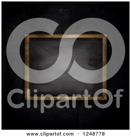 Clipart of a 3d Framed Chalkboard Against a Dark Brick Wall - Royalty Free Illustration by KJ Pargeter