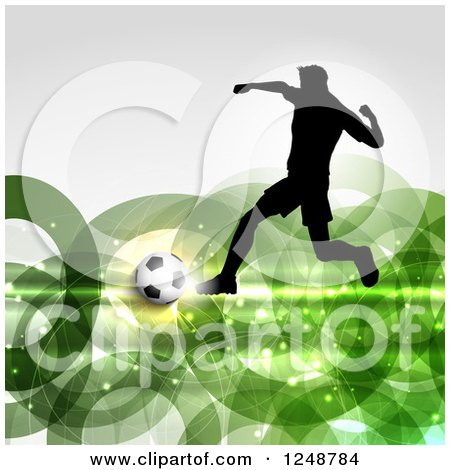 Clipart of a 3d Soccer Ball and Silhouetted Male Player over Green Rings - Royalty Free Vector Illustration by KJ Pargeter