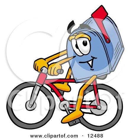 Blue Postal Mailbox Cartoon Character Riding a Bicycle Posters, Art Prints