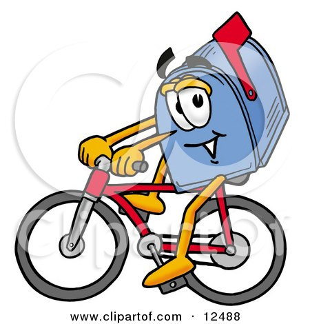 Clipart Picture of a Blue Postal Mailbox Cartoon Character Riding a Bicycle by Toons4Biz
