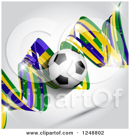 Clipart of a 3d Soccer Ball over a Brazilian Green Yellow and Blue Spiral on Gray - Royalty Free Vector Illustration by KJ Pargeter