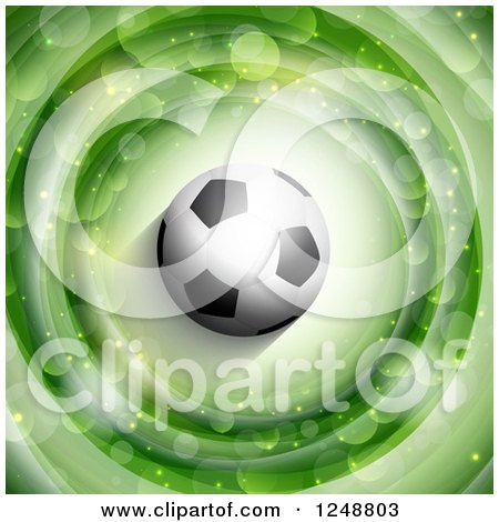 Clipart of a 3d Soccer Ball over Green Rings with Flares - Royalty Free Vector Illustration by KJ Pargeter