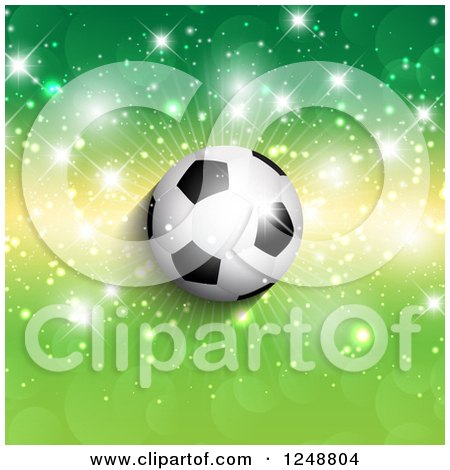 Clipart of a 3d Soccer Ball over Green and Yellow with Flares - Royalty Free Vector Illustration by KJ Pargeter