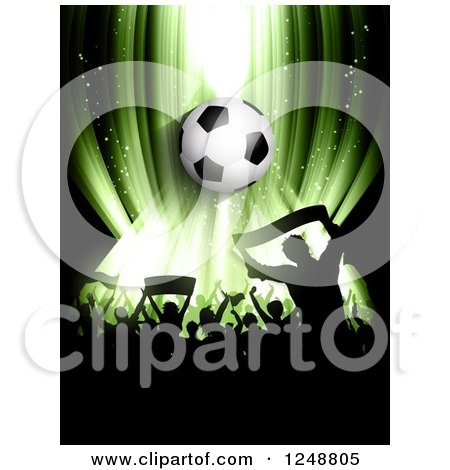 Clipart of a 3d Soccer Ball over a Crowd of Fans on Green - Royalty Free Vector Illustration by KJ Pargeter
