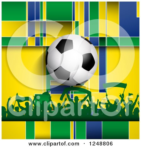 Clipart of a 3d Soccer Ball over a Crowd of Fans and Brazilian Yellow Blue and Green - Royalty Free Vector Illustration by KJ Pargeter