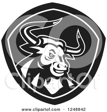 Clipart of a Black and White Retro Angry Horned Bull in a Shield - Royalty Free Vector Illustration by patrimonio