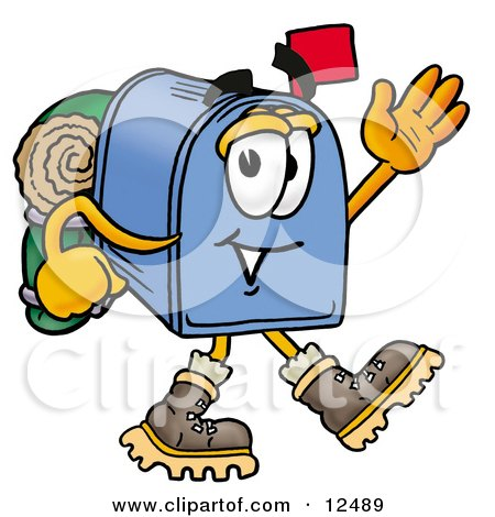 Clipart Picture of a Blue Postal Mailbox Cartoon Character Hiking and Carrying a Backpack by Toons4Biz