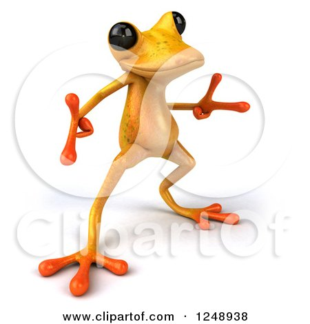 Clipart of a 3d Yellow Frog Pointing and Dancing - Royalty Free Illustration by Julos