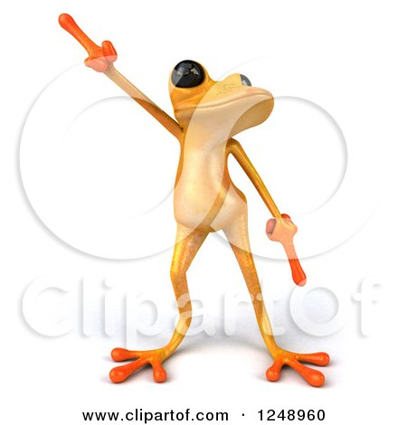 Clipart of a 3d Yellow Frog Dancing - Royalty Free Illustration by Julos
