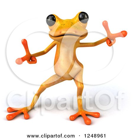 Clipart of a 3d Yellow Frog Dancing 2 - Royalty Free Illustration by Julos