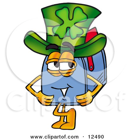 Clipart Picture of a Blue Postal Mailbox Cartoon Character Wearing a Saint Patricks Day Hat With a Clover on it by Toons4Biz