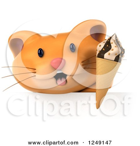 Clipart of a 3d Ginger Cat Holding an Ice Cream Cone over a Sign - Royalty Free Illustration by Julos