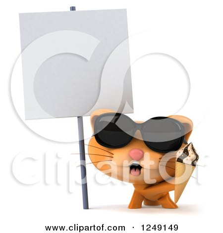 Clipart of a 3d Ginger Cat Wearing Sunglasses and Holding an Ice Cream Cone by a Blank Sign - Royalty Free Illustration by Julos
