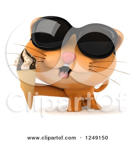 Clipart of a 3d Ginger Cat Wearing Sunglasses and Holding an Ice Cream Cone - Royalty Free Illustration by Julos