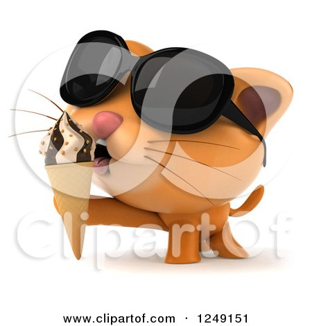Clipart of a 3d Ginger Cat Wearing Sunglasses and Eating an Ice Cream Cone - Royalty Free Illustration by Julos