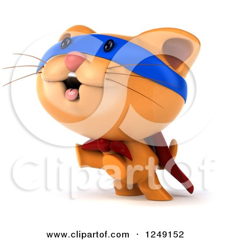 Clipart of a 3d Super Hero Ginger Cat Jumping - Royalty Free Illustration by Julos