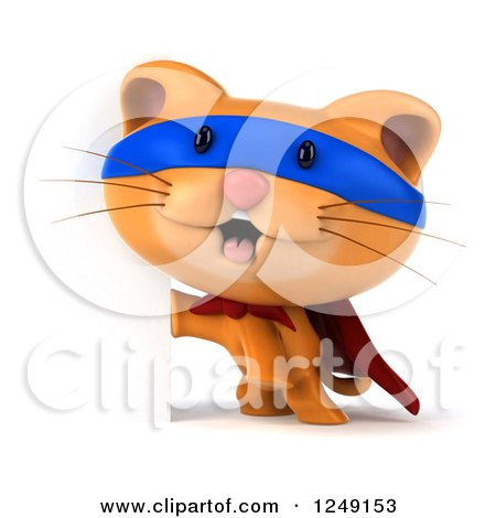 Clipart of a 3d Super Hero Ginger Cat by a Sign - Royalty Free Illustration by Julos