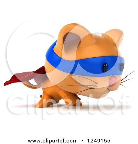 Clipart of a 3d Super Hero Ginger Cat Walking - Royalty Free Illustration by Julos