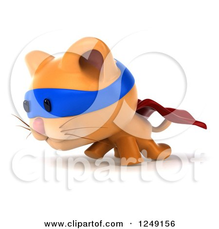Clipart of a 3d Super Hero Ginger Cat Walking 2 - Royalty Free Illustration by Julos