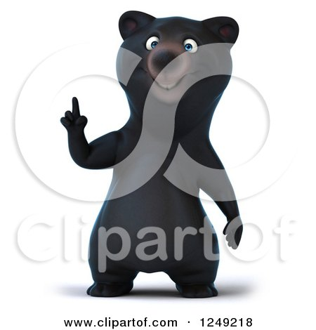 Clipart of a 3d Black Bear Pointing up - Royalty Free Illustration by Julos