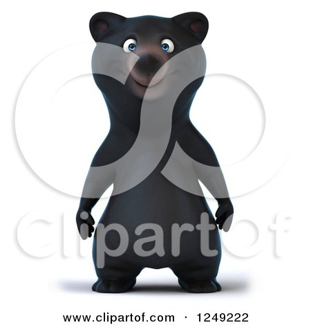 Clipart of a 3d Black Bear Standing Upright - Royalty Free Illustration by Julos