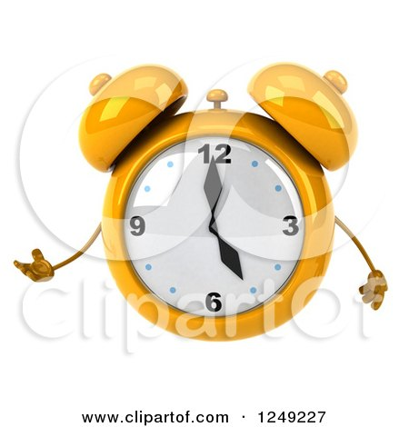 Clipart of a 3d Yellow Alarm Clock - Royalty Free Illustration by Julos