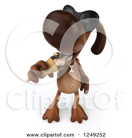 Clipart of a 3d Brown Lab Dog Wearing Sunglasses and Eating an Ice Cream Cone - Royalty Free Illustration by Julos