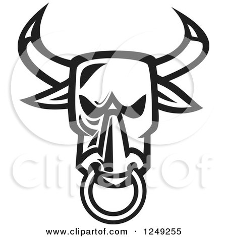 Clipart of a Black and White Angry Bull Head with a Nose Ring - Royalty Free Vector Illustration by patrimonio