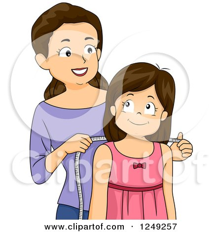 Clipart of a Caucasian Mother Measuring Her Daughter to Make Her a Dress - Royalty Free Vector Illustration by BNP Design Studio