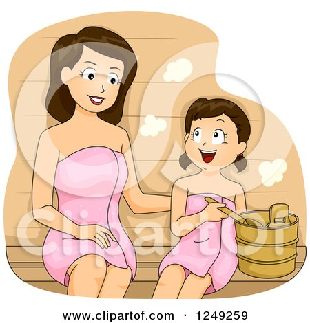 Clipart of a Brunette Mother and Daughter Bonding in a Spa Sauna - Royalty Free Vector Illustration by BNP Design Studio