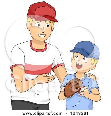 Clipart of a Happy Father Teaching His Son How to Play Baseball - Royalty Free Vector Illustration by BNP Design Studio