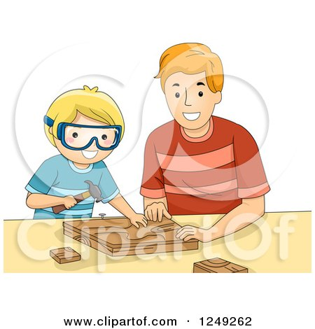 Clipart of a Father and His Son Doing Wood Work Together - Royalty Free Vector Illustration by BNP Design Studio