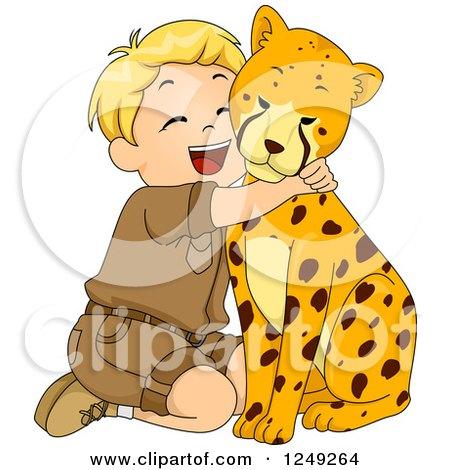 Clipart of a Happy Blond Safari Boy Hugging a Cheetah - Royalty Free Vector Illustration by BNP Design Studio
