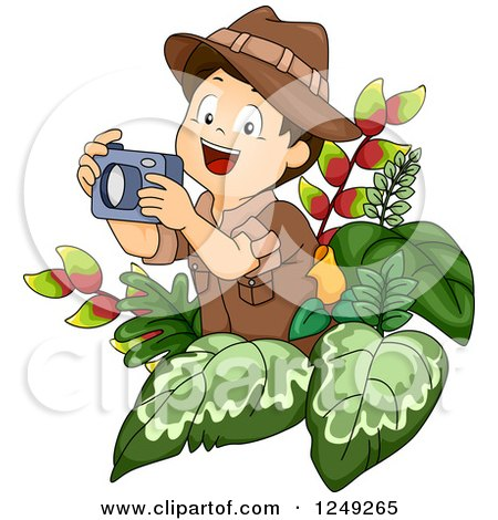 Clipart of a Happy Safari Boy Taking Pictures in the Jungle - Royalty Free Vector Illustration by BNP Design Studio